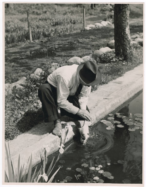 Shoe cleaning at a pond in Ohio