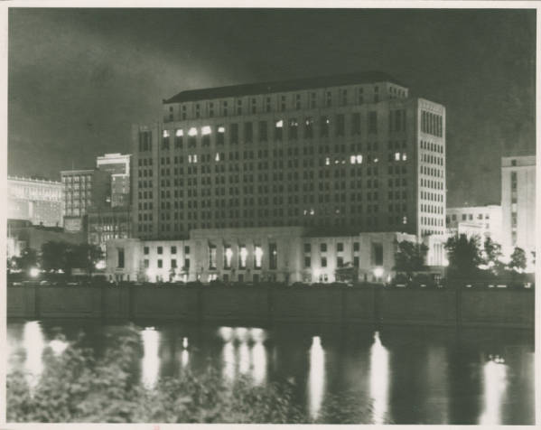 Ohio State Office Building riverview at night