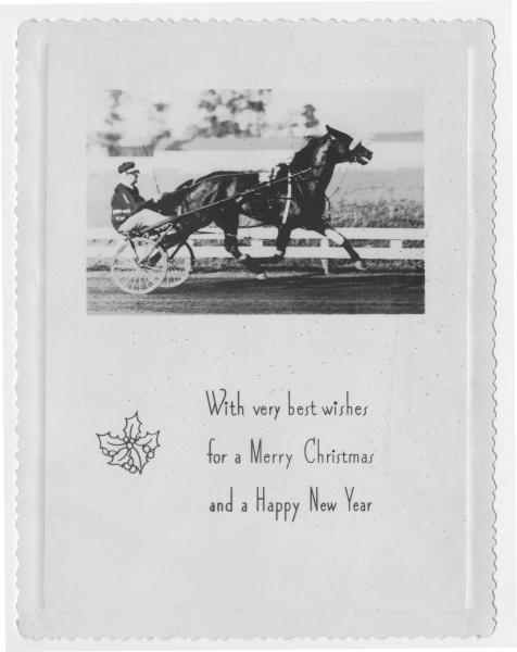 Christmas card with harness racing picture