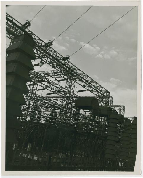 Transformers and disconnects at the Ohio Power Company, south of Zanesville, Ohio
