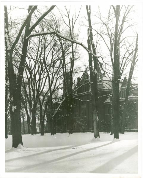 Winter scene at Towers Hall on the Otterbein University campus